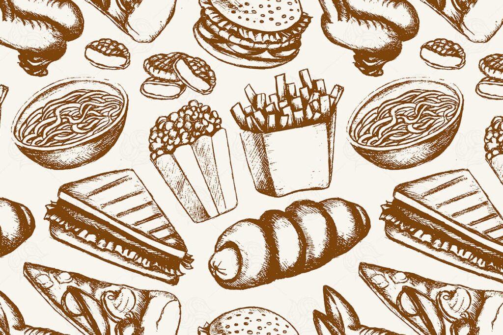 精致矢量手绘快餐主题创意图案Fast food one color hand drawn seamless pattern插图