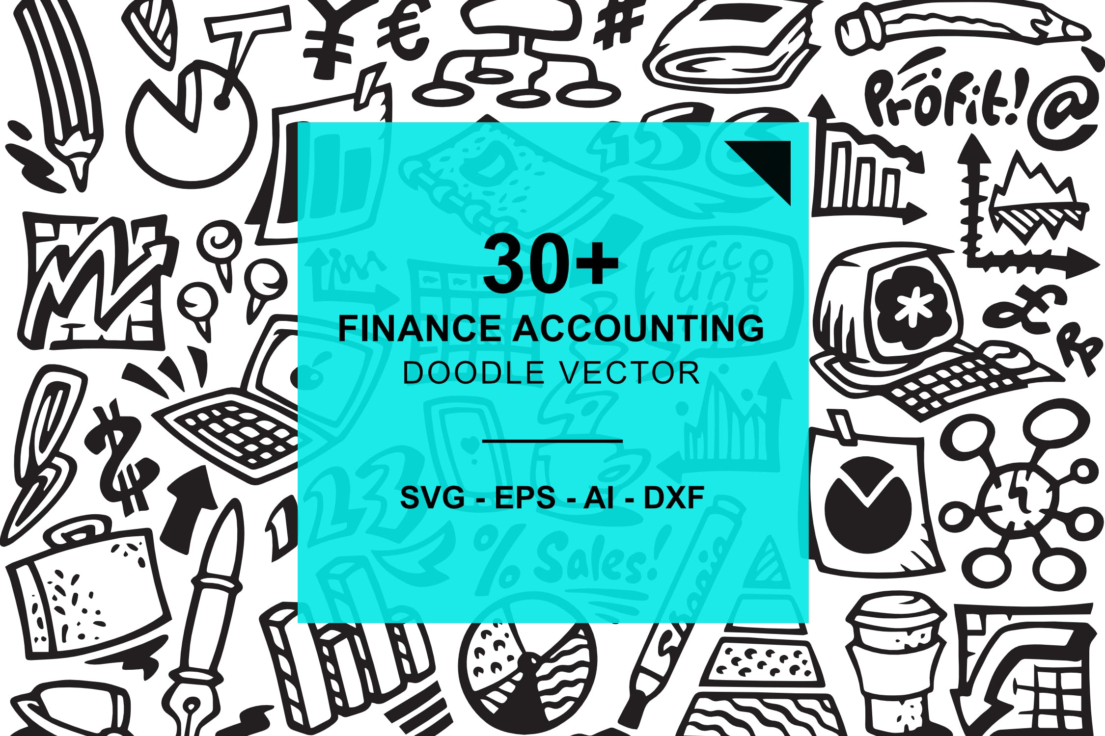 30+财会涂鸦插画矢量图标下载Finance and Accounting Doodles插图