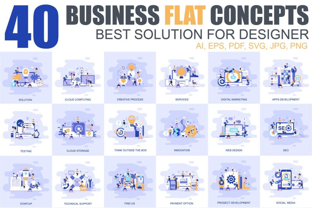 40个主题场景创意扁平化风格插图设计Flat Concepts With People Character插图