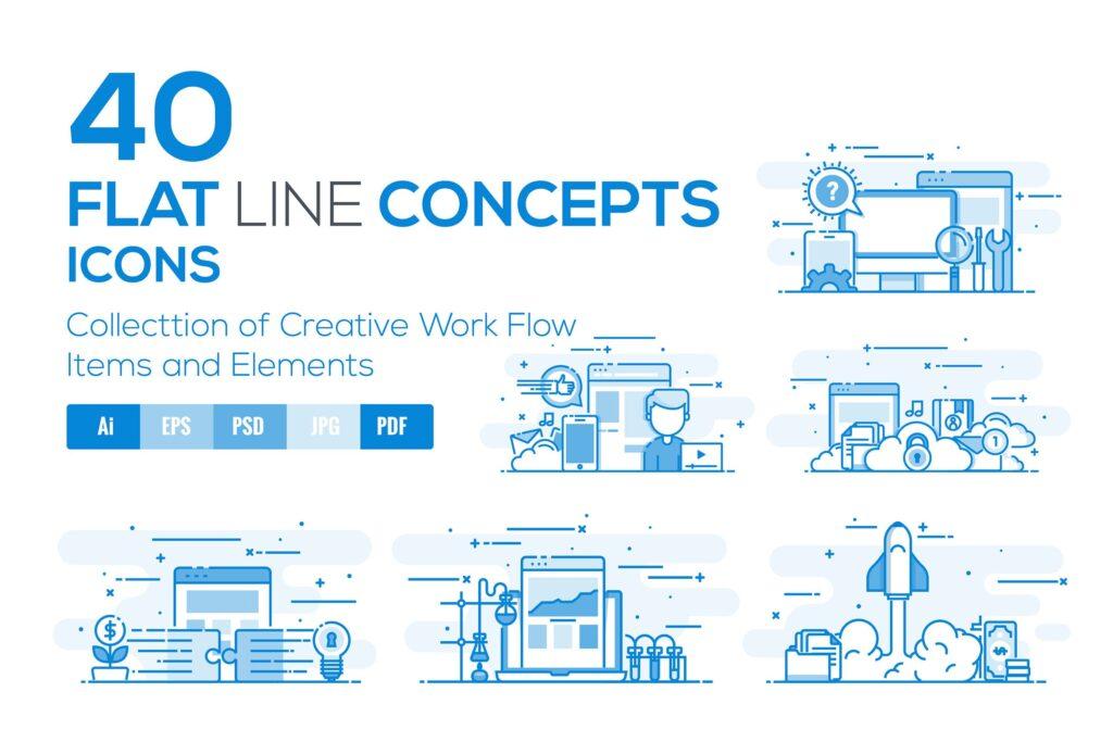 40个创意商务场景插图设计素材下载Flat Line Designed Concepts插图