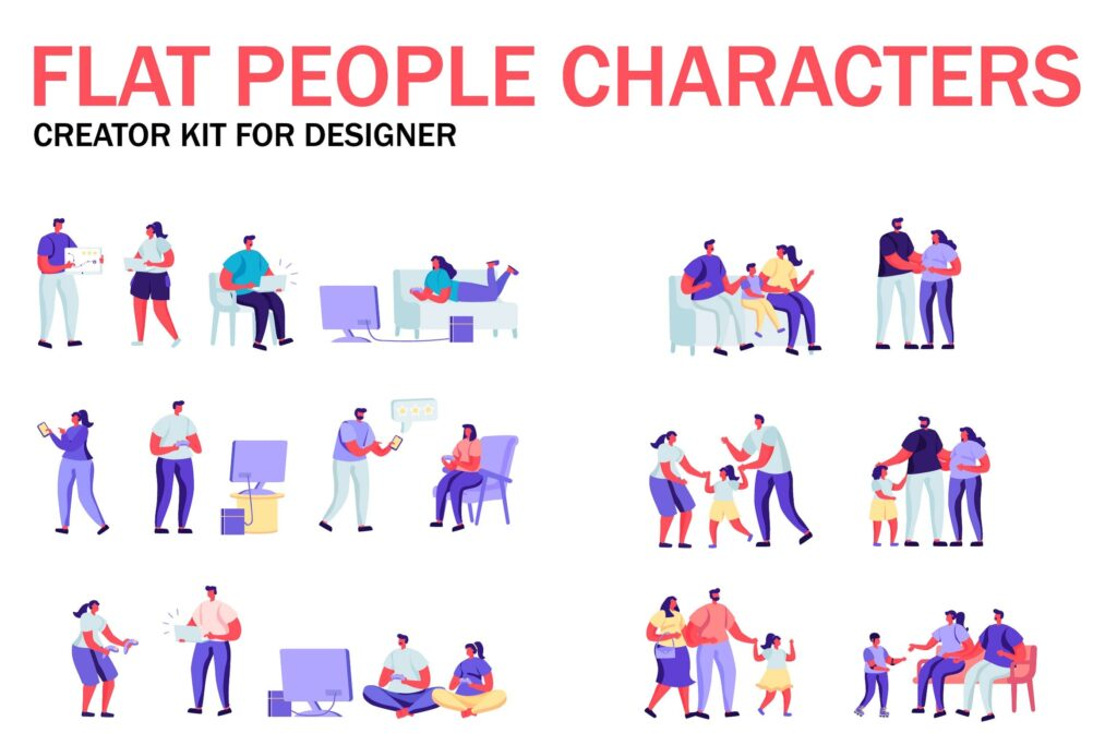 现代家庭活动场景插画扁平化人物商业角色冬天插画素材Flat People Character Creator Kit Kpj5mhe插图