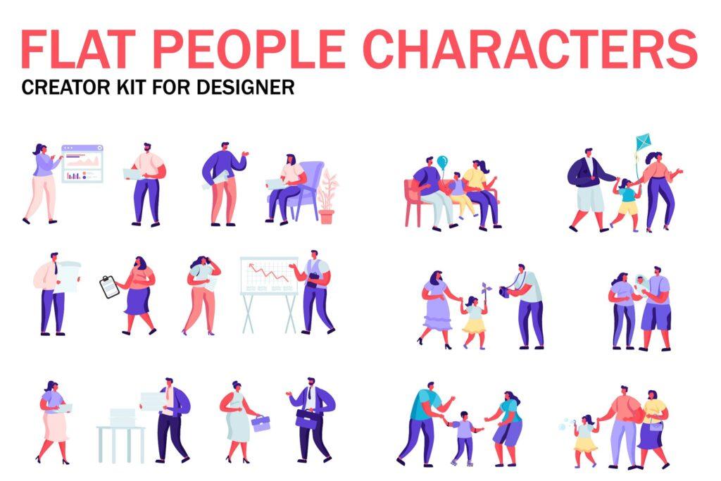亲子教育扁平化人物为商务冬天插画素材Flat People Character Creator Kit G9hfdzl插图