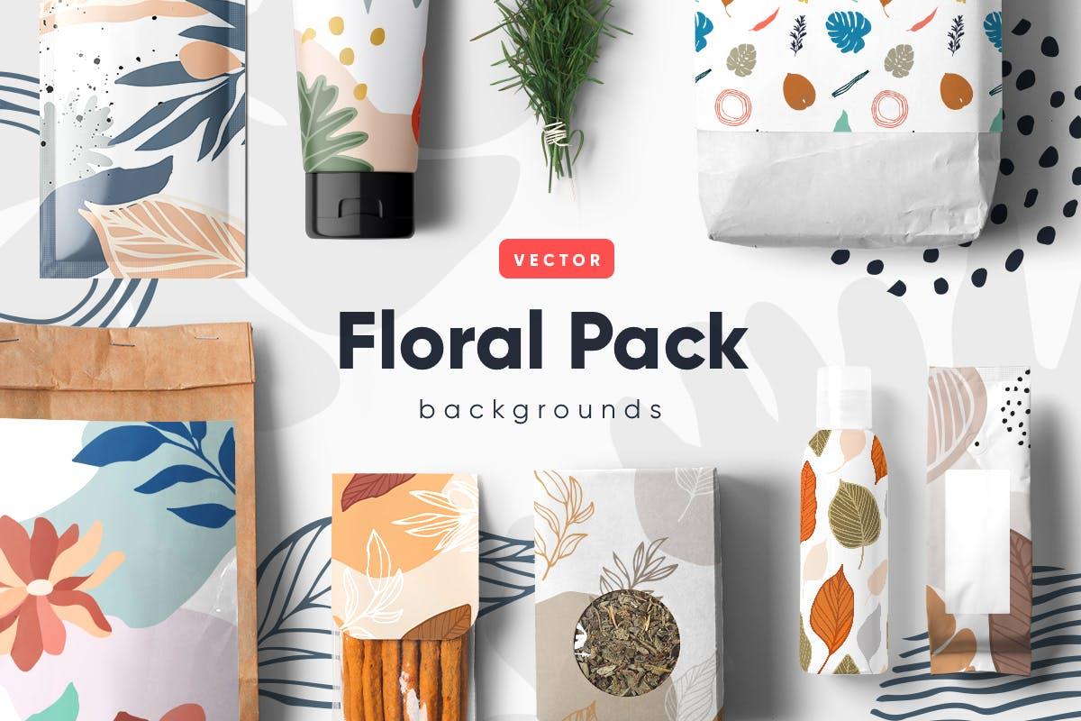 自然和花朵影响的艺术图案化妆品牌包装装饰图案Floral Backgrounds Patterns插图