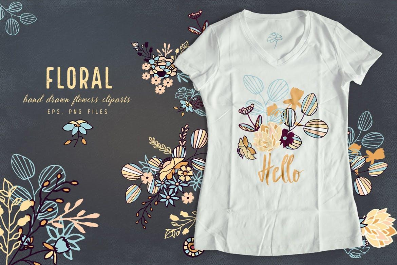 品牌花卉图案婚礼请柬服装类装饰图案Floral Cliparts插图