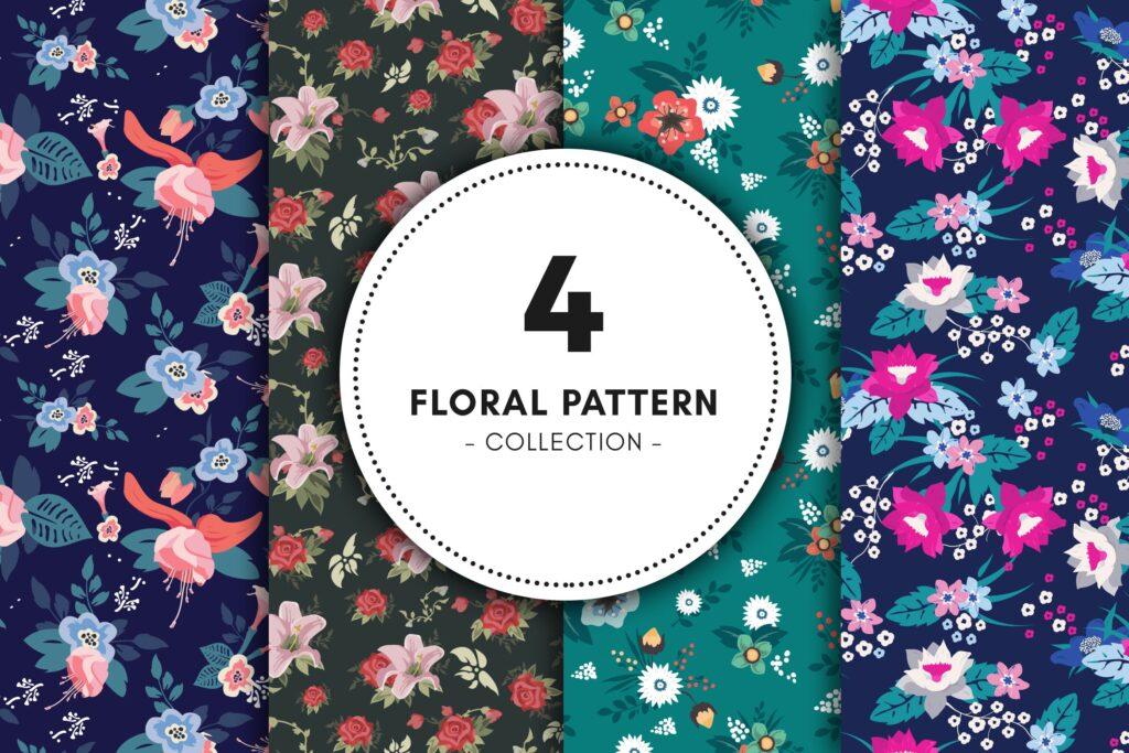 复古花卉图案收集自由组合图案花纹布艺纹理Floral Pattern Collection插图