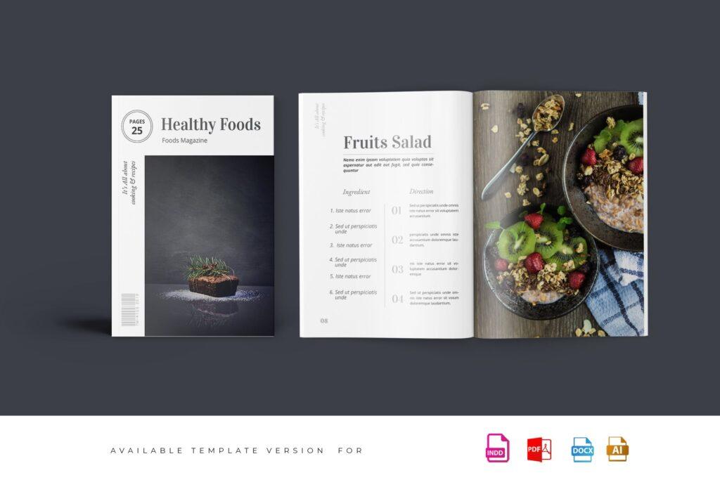 食品/餐饮类主题杂志模板Food Magazine Template Bdxvs4g插图