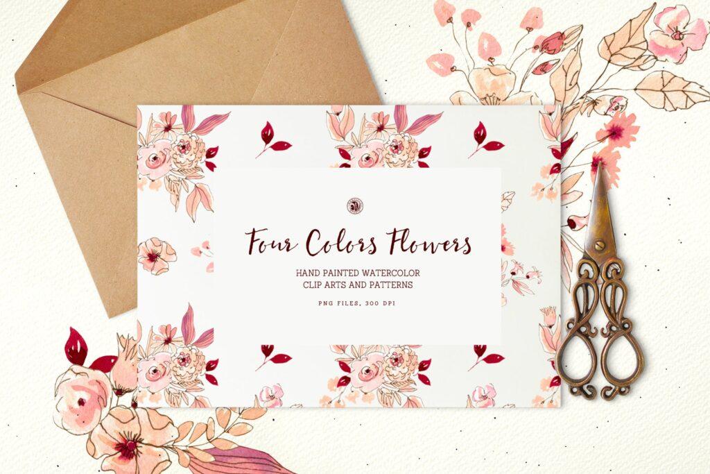 四色花手绘水彩画花卉及图案Four Colors Flowers插图