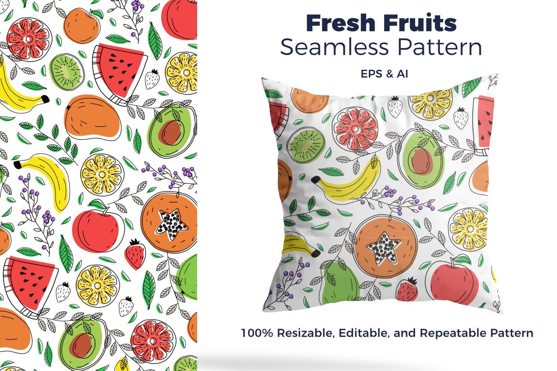 新鲜水创意果图案元素展示Fresh Fruit Pattern插图