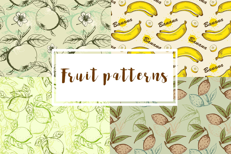 手工绘制的复古水果精致图案素材Fruit Seamless Patterns插图