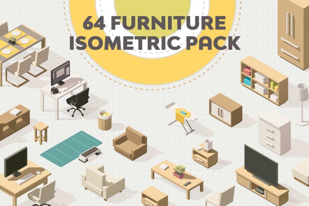 64个家具创意2.5D风格插图Furniture Isometric Flat Set插图