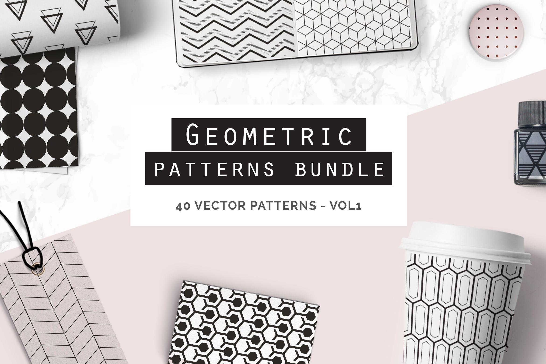 企业品牌几何图形多场景应用素材Geometric Seamless Patterns Bundle插图