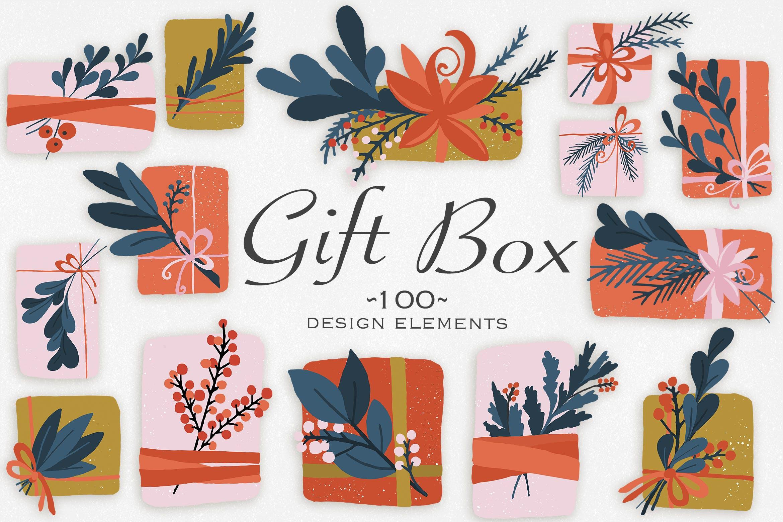礼品盒设计元素手绘装饰图案素材纹理下载Gift Box Design Elements插图