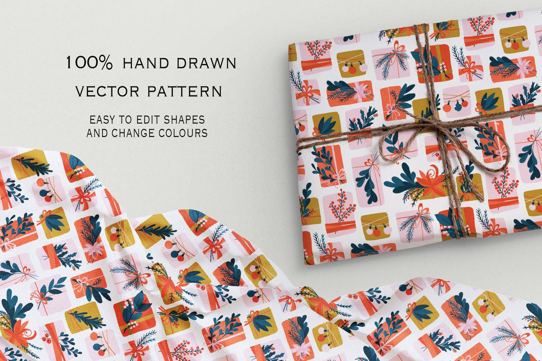 矢量无缝礼盒是装饰图案纹理下载Gift Box seamless pattern插图