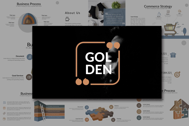 金色个人企业眼睛幻灯片模板Golden Keynote插图