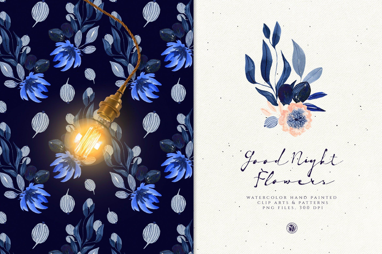 暗夜水彩画花卉手绘水彩画剪贴艺术图案/纹理素材Good Night Flowers插图