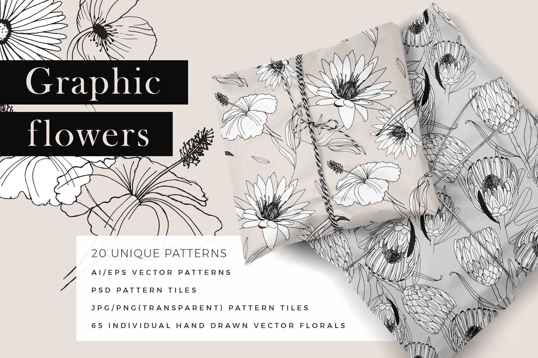 图形花卉图案装饰性元素图案花纹素材下载Graphic Flowers Patterns Elements插图