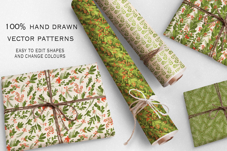 绿色圣诞节矢量手绘无缝图案Green Christmas插图