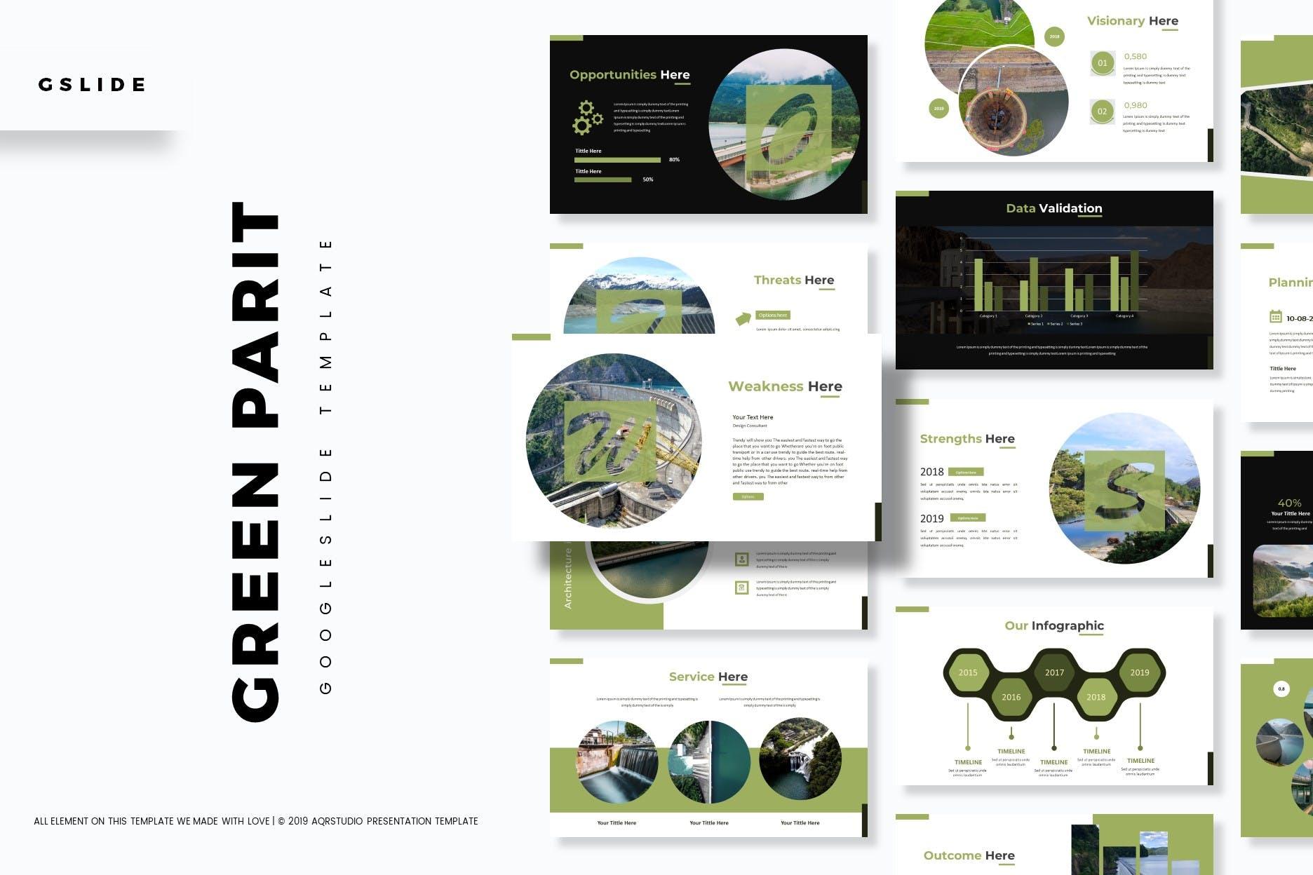 绿色能源水利发电行业数据PPT模板Green Parit Google Slides Template插图