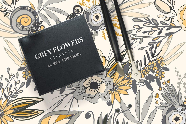 婚礼邀请函装饰图案花纹矢量元素下载Grey Flowers插图