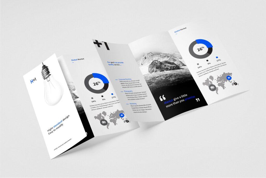 企业产品目录三折页模板素材H1 Trifold Brochure插图