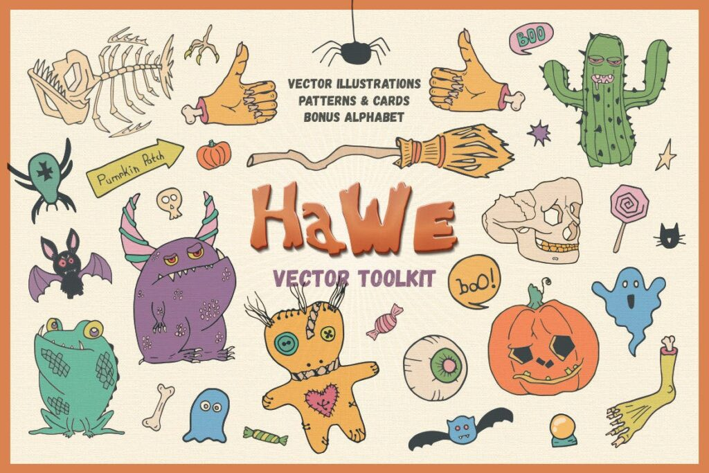 万圣节主题元素素材装饰图案纹理素材下载HaWe Halloween Vector Toolkit插图
