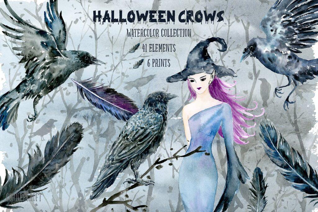 水彩万圣节乌鸦/女巫元素相框装饰画Halloween Crows and Witch Watercolor插图