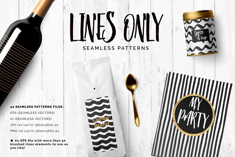 几何线条图案装饰纹理素材Handdrawn Lines Patterns插图