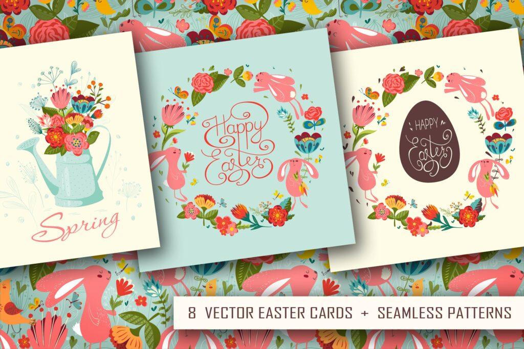 复活节贺卡装饰图案和海报纹理图案Happy Easter插图