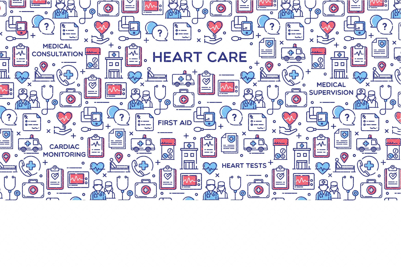 医疗类创意描边风图标源文件下载Heart Care Vector Illustration插图