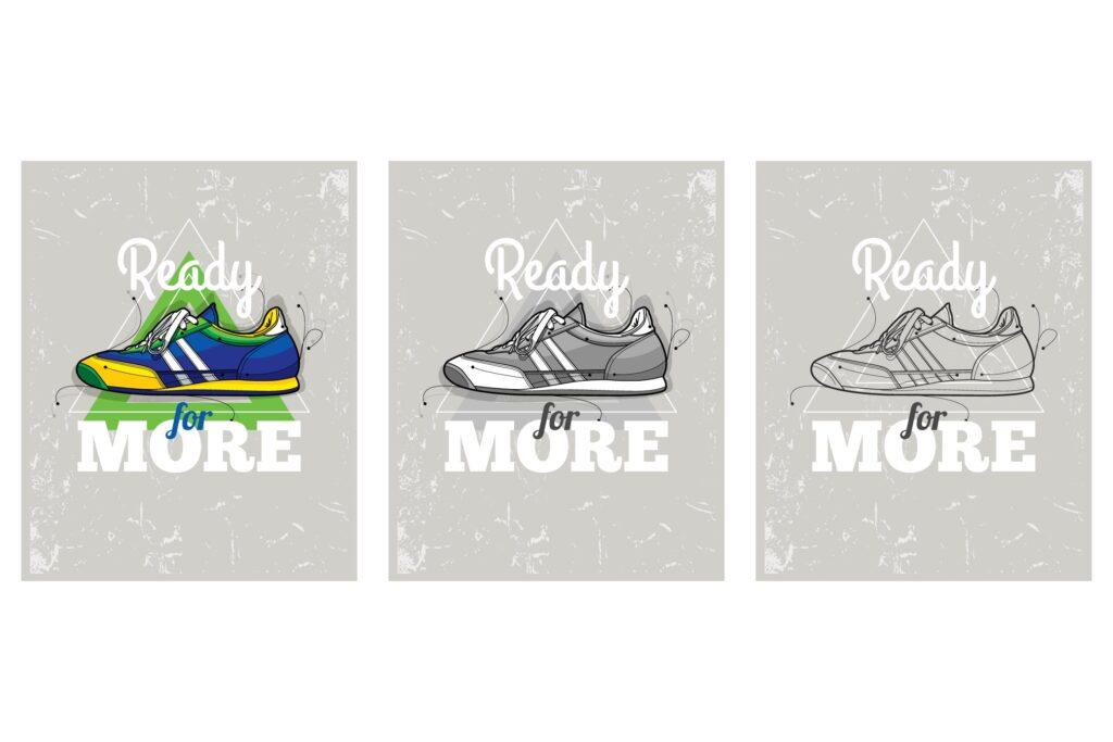 时髦涂鸦运动鞋抽象的三角形描边风格插画下载Hipster graffiti sneakers on abstract triangle bac插图