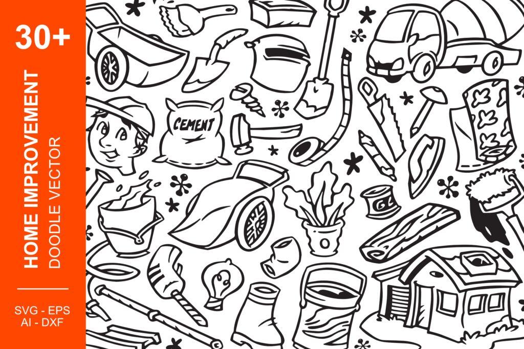 30个家居装饰图案涂鸦线性图标矢量元素下载Home Improvement Doodles插图