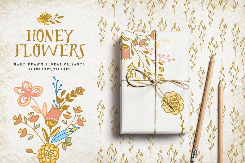 蜂蜜花卉图案纹理素材植物图案纹理下载Honey Flowers插图