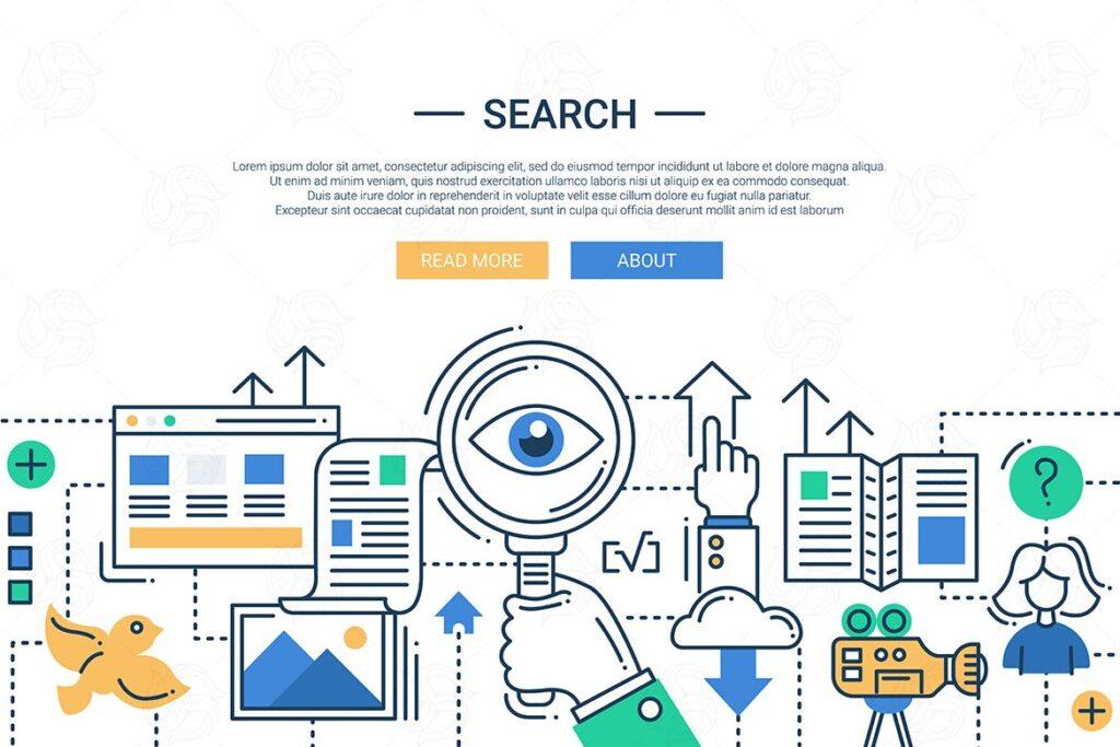 现代搜索引擎信息创意插图设计Illustration of modern search engine line image插图