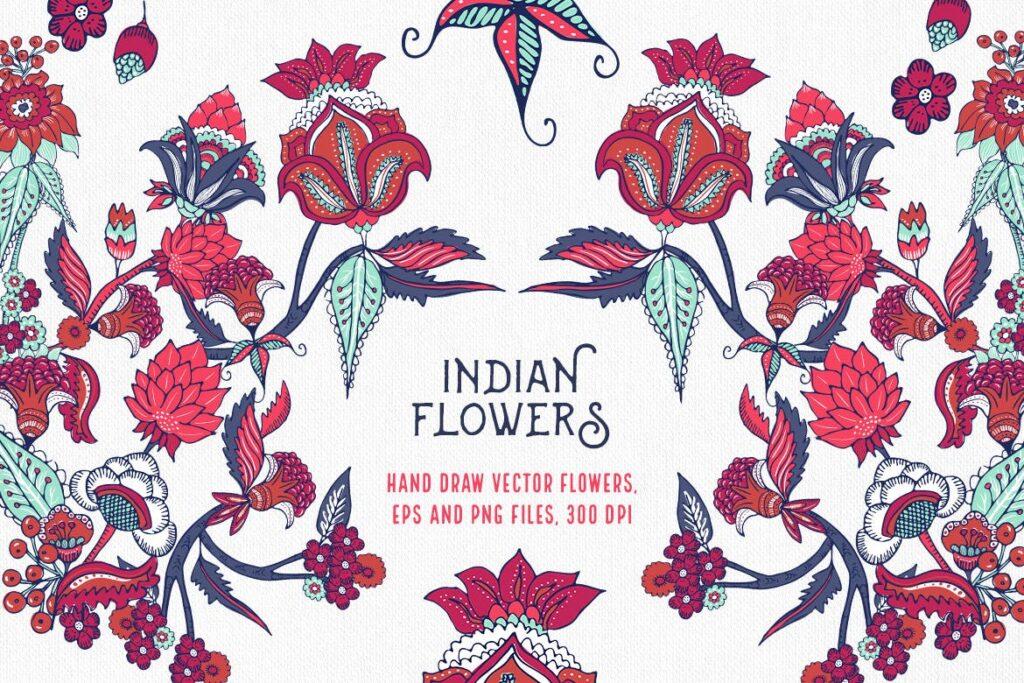 印度风格花卉插花抱枕装饰图案花纹Indian Flowers插图
