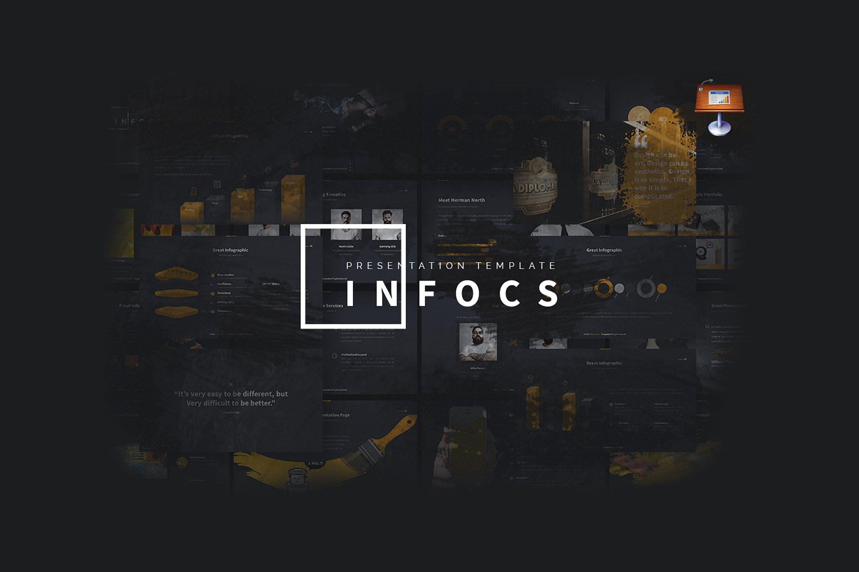 经典黑色调企业品牌介绍幻灯片模板下载Infocs Keynote Template插图