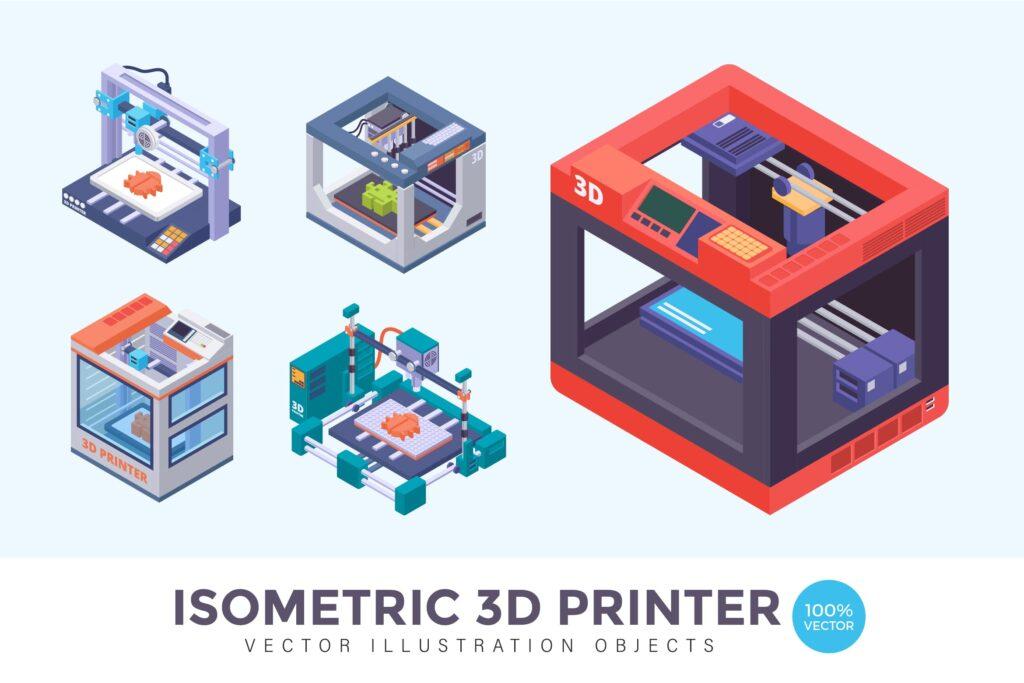 3D打印机矢量创意插图设计Isometric 3D Printer Vector Illustration插图