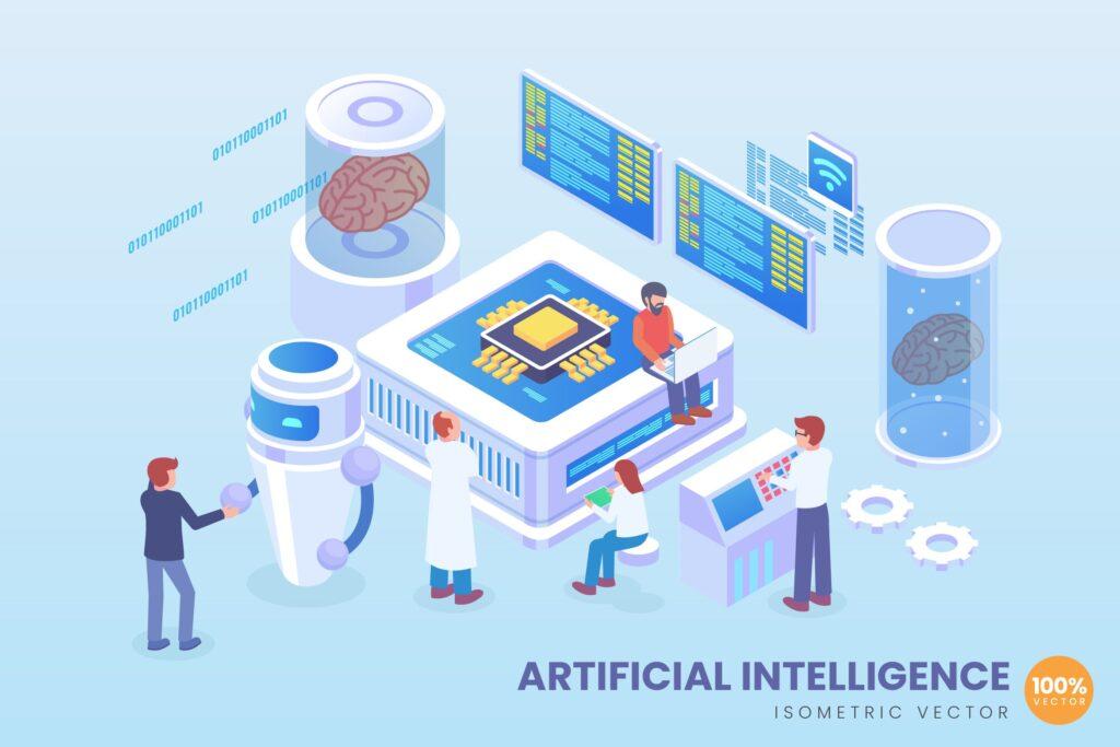 2.5D工智能场景矢量创意插画Isometric Artificial Intelligence Vector Concept插图