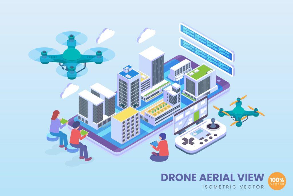 无人机物流送货Isometric Drone Aerial View Vector Concept插图