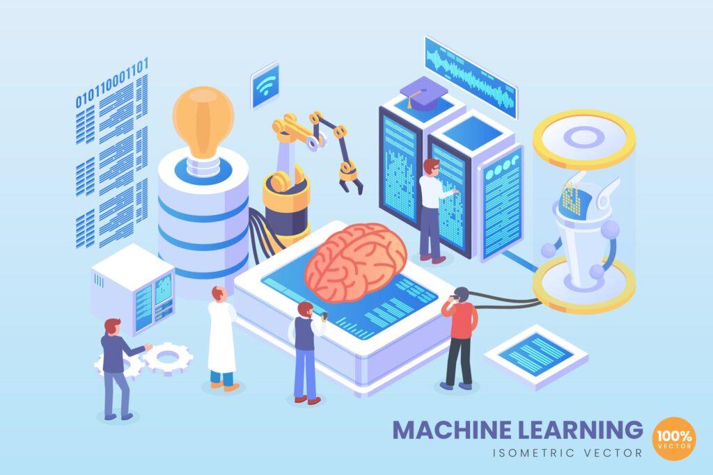 2.5D场景插画机器智能学习矢量概念插图Isometric Machine Learning Vector Concept插图