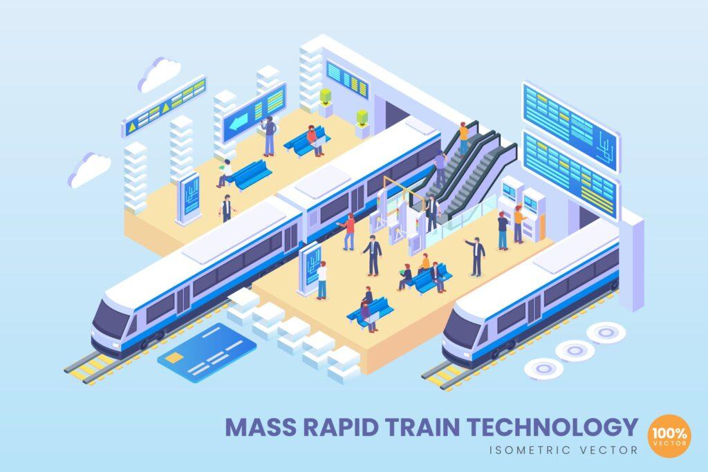 2.5D矢量插画快速列车技术场景插画Isometric Mass Rapid Train Technology Vector插图