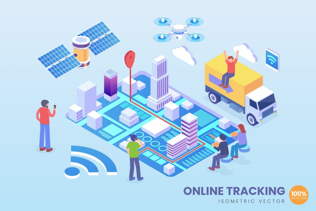 智慧城市卫星互联2.5D场景插画素材Isometric Online Tracking Technology Vector插图