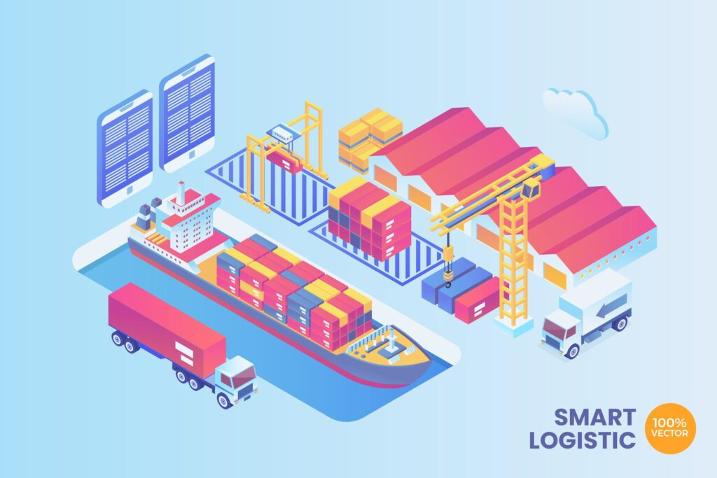 网页插图banner2.5D远洋物流货运船运公司Isometric Smart Port Logistic Vector Concept插图