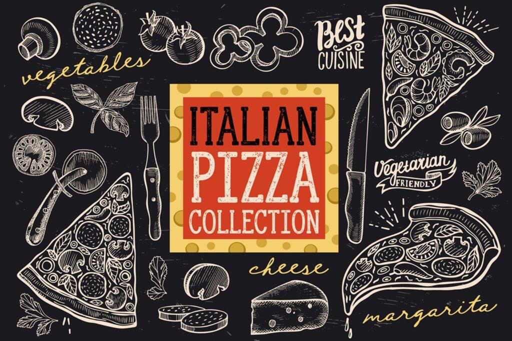 意大利披萨涂鸦元素美食餐饮品牌装饰图案花纹Italian Pizza Doodle Elements插图
