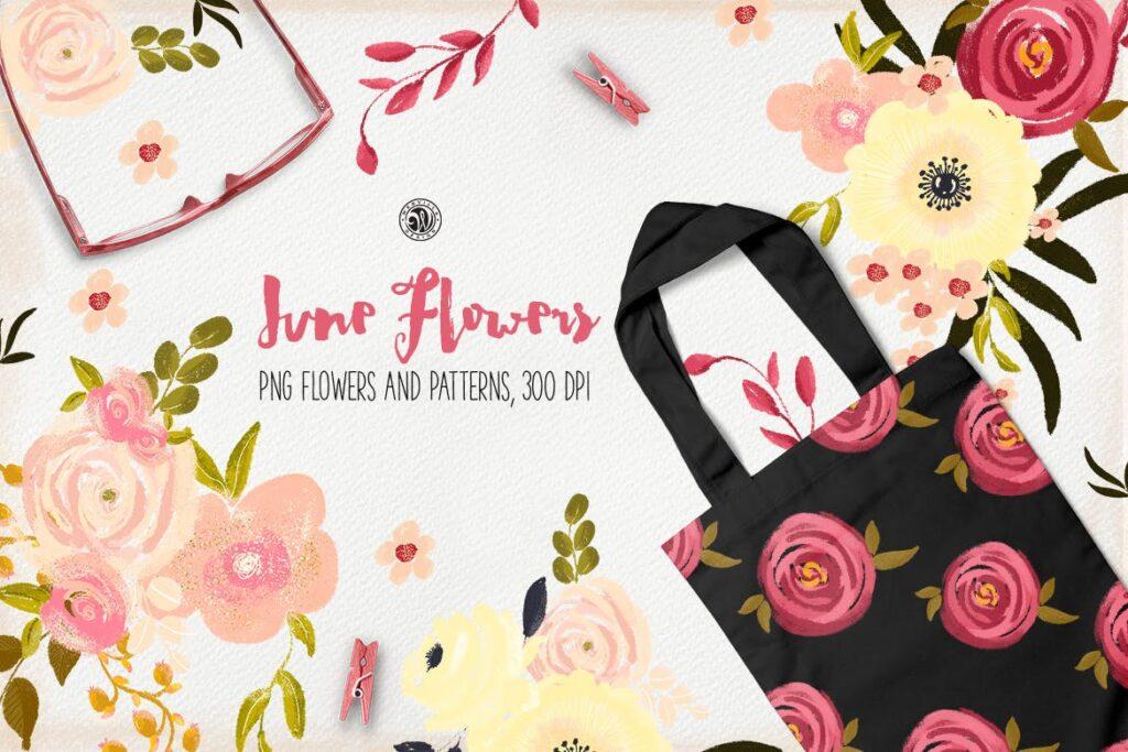 花卉手工剪纸装饰图案纹理June Flowers插图