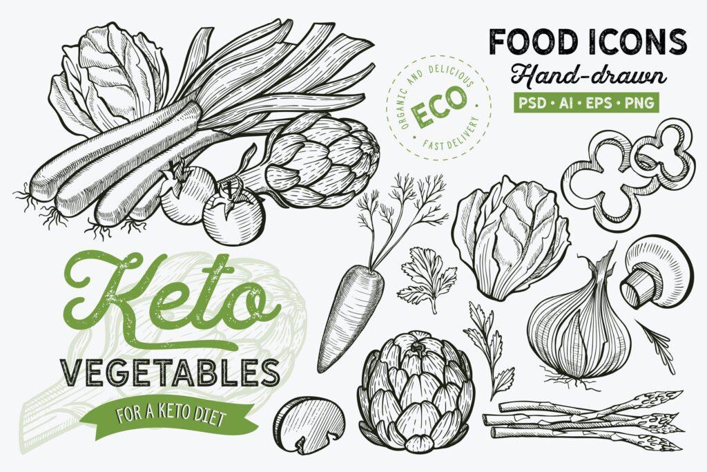 有机蔬菜餐厅手绘蔬菜元素装饰图案Keto Vegetables Hand Drawn Graphic插图