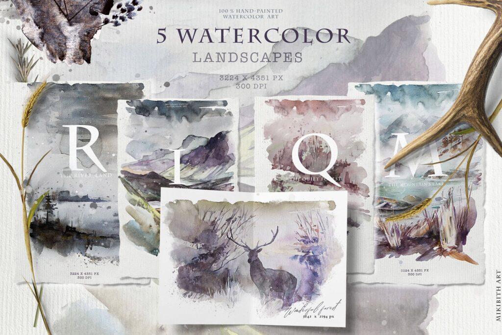 水彩画的风景与山脉/田野/河流Landscapes watercolor插图