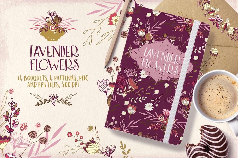 薰衣草花轮廓图素材模板图案纹理下载Lavender Flowers插图