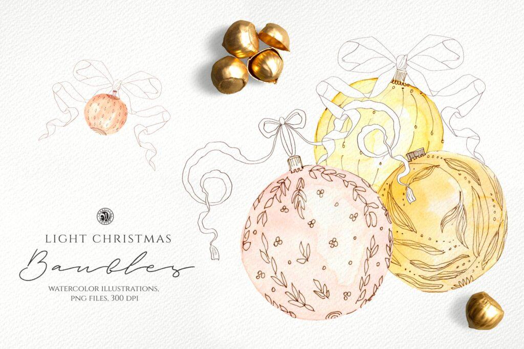 圣诞节水彩小玩意水彩圣诞装饰品Light Christmas Watercolor Baubles插图