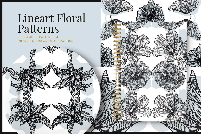 线条艺术花卉矢量图案元素Lineart Floral Patterns Elements插图