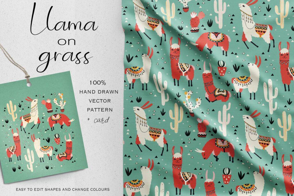动物卡通创意系列布艺纹理装饰图案Llama on grass插图